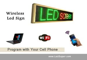 Led Sign Wireless Programmable Scrolling Message Sign 15 X 53 Tri Color