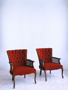 Midcentury Highback Hollywood Regency French Queen Anne Tufted Cane Armchairs