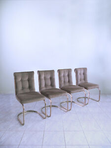 Mid Century Cantilever Hollywood Space Age Flat Bar Brass Set Of 4 Dining Chairs