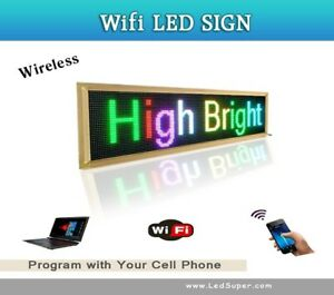Led Sign Wireless Programmable Scrolling Message Sign 15 X 65 7 Colors