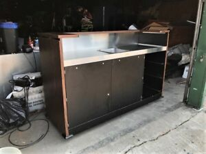 Portable Restaurant Bar With Stainless Steel Prep Area And Storage Cover
