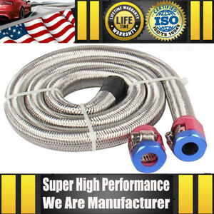 Universal 3 8 Hose 3ft Stainless Steel Flex Braided Fuel Line Kit W Two Clamps