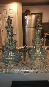 Vintage Andirons Brass And Cast Iron Ornate Fireplace Log Holders Early 1900s