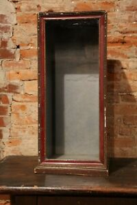 Antique Country Store Display Showcase Upright Wood With Old Glass Case Vtg