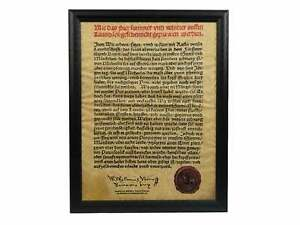Framed German Beer Purity Act Of 1516 Parchment 123 004 G02 Rm1