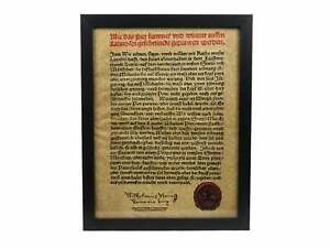 Framed German Beer Purity Act Of 1516 Parchment 123 004 G01 Rm1