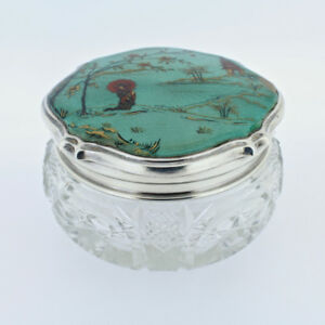 Antique Guilloche Enamel Sterling Silver Cut Glass Jar Japanese Scene Sl