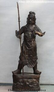 39 Chinese Bronze Stand Dragon Sword Guan Guan Yu Warrior God Knight General