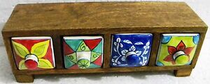 Drawers Box Gift Handmade Wooden Ceramic Small Chest Of 4 Decorated Drawers