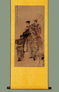 Long Rare Chinese Handwork Calligraphy Figures Paper Old Scroll Painting Yy43