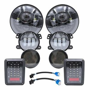 For 2007 17 Jeep Wrangler Jk 7 Led Headlights Fog Turn Signal Tail Lights Lamp