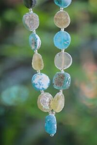 23 Ancient Roman Glass Old Round Beads Patina Strand Necklace