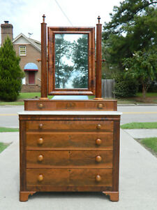 Mahogany Empire Dresser With Mirror Circa 1840