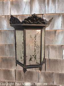 Antique Hanging Lantern With Sandwich Glass Panels