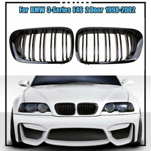 Carbon Fiber Look Front Kidney Grille For Bmw 3 Series E46 Coupe Cabrio M3 Coupe