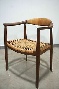 Early Hans Wegner Round Chair With Cane Seat And Back For Johannes Hansen