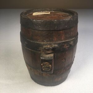Antique Wooden Barrel Keg Small Size 7 5 Tall From England 2 Hoops Missing