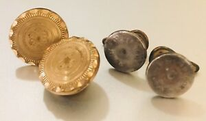 2 Pair Of Victorian Cufflinks A Gold Tone Floral Style Sterling Silver Plain