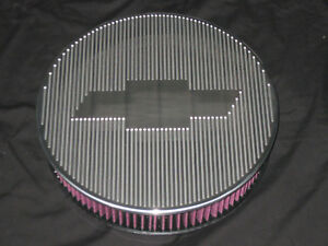 14 Inch Round Chevy Ghost Bow Tie Air Cleaner 6061 Aluminum K n Filter Drop Base