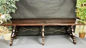 Antique Spanish Refectory Table Stretcher Metal Scrolls