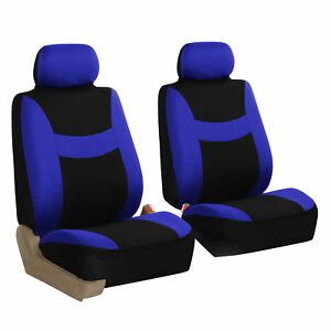 Front 2 Bucket Universal Car Seat Covers Blue For Auto