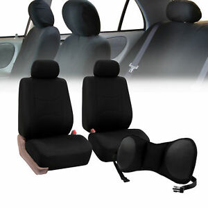 Front Bucket Seat Covers Black With Seat Back Cushion Pad Black For Auto Car Suv