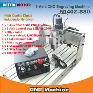 3 Axis 6040z S80 1500w Vfd Lpt Mach3 Engraving Milling Maschine Cnc Router Kit