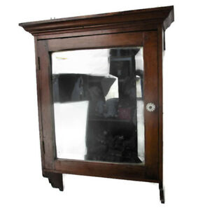 Vintage Pine Wood Kitchen Apothecary Bathroom Wall Cabinet Beveled Glass Mirror