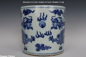 Fine Beautiful Chinese Blue And White Porcelain Duo Dragons Brush Pot