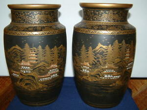 Antique Large Pair Of Japanese Satsuma Vases Artist Marks Very Good Condition