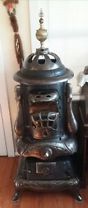 Antique Nubian Hot Blast Wood Coal Potbelly Parlor Stove Display Or Parts