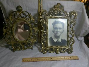 Lot Of 2 Vintage Brass Metal Picture Frame Mirror Freestanding