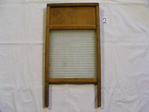 2 Vintage Standard Family Size Wood And Glass Washboard No 2080