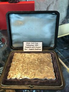 Genuine Antique Sterling Silver Card Case Hallmarked 1890 With Original Box