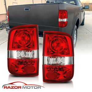 2004 2008 Red Clear Replacement Back Brake Tail Lights Pair For Ford F150 F 150