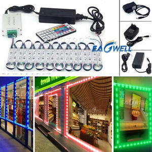 Power+Remote+ RGB 10~100ft 5050 SMD 3 LED Module STORE FRONT Window Sign Lights