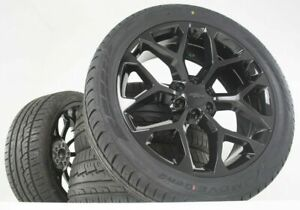 Black Tahoe Wheels Silverado Ck156 Snowflake 22 Gmc Sierra Yukon Rims Tires New