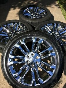 22 Chevy Tahoe Escalade Gmc Chrome Oem Wheels Rims Tires Rines 22 Inch