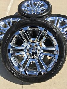 22 22 Inch Chevy Tahoe Escalade Gmc Chrome Wheels Rims Tires Factory Oem