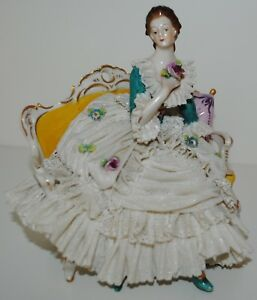 Antique Dresden Porcelain Lace Lady With Flower Figurine Sitting On Couch