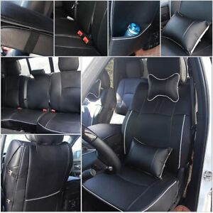 Pu Leather Seat Covers For Dodge Ram 1500 2500 2009 2018 Black W Armrest Cover