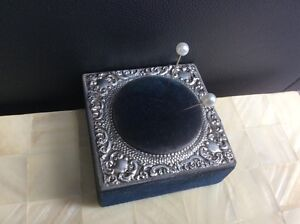 Antique Edwardian Navy Blue Velvet Pin Cushion With Solid Silver Lid Cover 1907