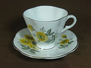 Crownford Bone China Staffordshire Cup And Saucer Yellow Wildflowers Gold Trim