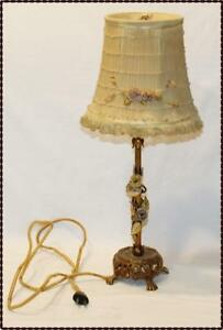 Antique French Gilt Bronze Boudoir Lamp W Porcelain Flowers With Lace Shades