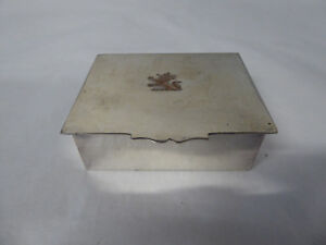 Vintage Sheffield English Silver Trinket Stamp Box Silver On Copper