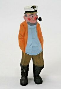 Hand Carved Captain Fisherman Wooden Sailor Pirate Skipper 7 Nautical Old Man