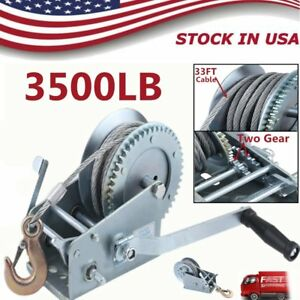 Heavy Duty 3500 Lb Dual Gear Hand Cable Winch Boat Trailer Auto Marine Tools He
