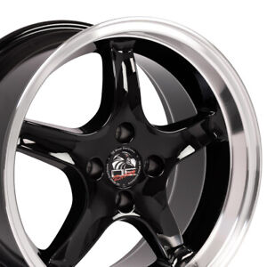 17x8 Rims Fit Mustang 4 Lug Cobra R Style Dd Black Mach D Set