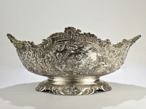 19th Century German Rococo Revival Repouss 800 Silver Centerpiece Or Bowl Sl