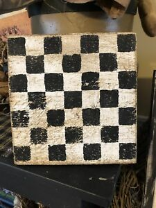 Hand Painted Primitive Country Checker Board Sign Checkers Game Board